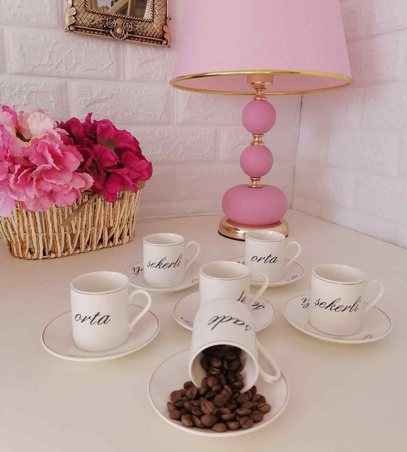 Şekerli Orta Sade Kahve Fincanı Takımı 6lı