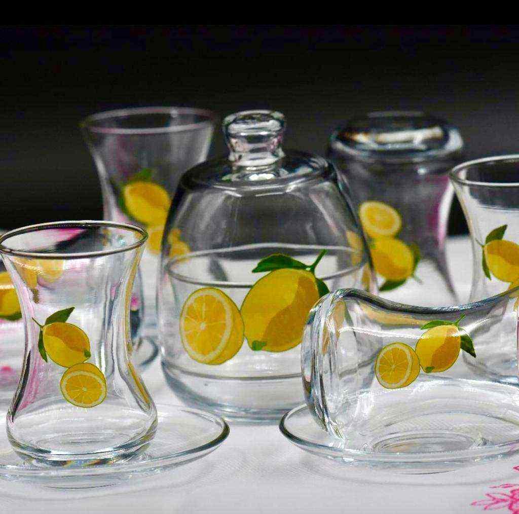 Limon Desenli Çay Seti